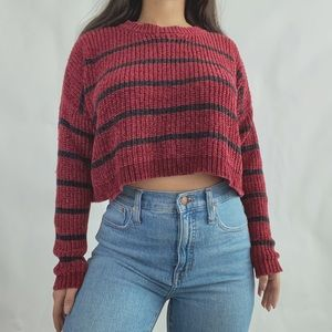 Forever 21 Cropped Burgandy Knit Striped Sweater